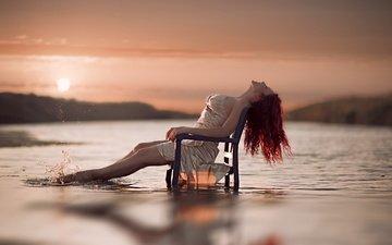 девушка, настроение, пляж