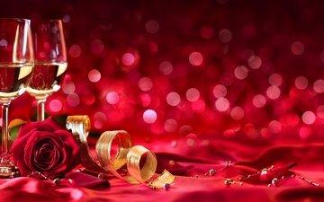 розы, бокалы, шампанское, день святого валентина, 14 февраля