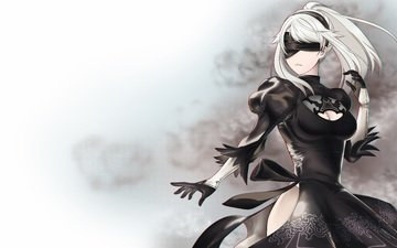 art, white background, dust, headband, android, black dress, gloves, white hair, video game, nier automata