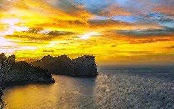небо, облака, скалы, закат, пейзаж, море, испания, мальорка