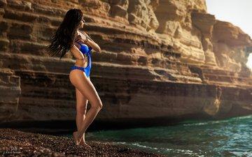 девушка, море, скала, пляж, модель, позирует