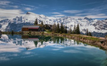 lake, mountains, nature, reflection, landscape, house