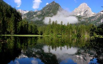 озеро, горы, природа, лес, отражение, пейзаж