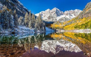 озеро, горы, природа, лес, зима, отражение