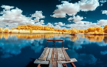 the sky, clouds, trees, lake, nature, the bridge, forest, reflection, landscape, autumn