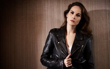 background, portrait, actress, black, makeup, hairstyle, jacket, photoshoot, brown hair, kozhanka, for the film, vincent peters, michelle dockery, good behavior