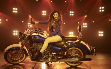 girl, look, hair, face, actress, motorcycle, bike, celebrity, indian, yami gautam
