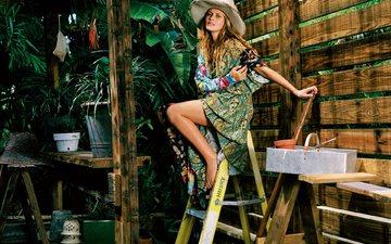 растения, девушка, платье, взгляд, волосы, лицо, шляпа, aктриса, тереза палмер