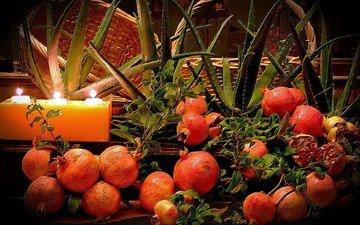 свечи, фрукты, плоды, гранат, алоэ