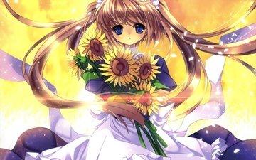аниме, девочка, подсолнухи, белое платье