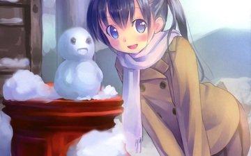 anime, scarf, winter snow