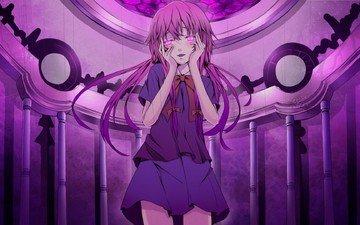 art, girl, anime, mirai nikki, bows, gasai yuno, future diary, reio reio