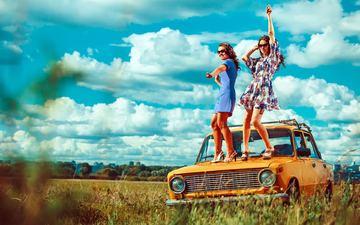 clouds, dress, field, girls, model, car, lada