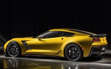 yellow, background, car, sports car, corvette, chevy-corvette