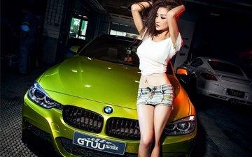 girl, brunette, skirt, hair, figure, asian, car, bmw, bmw 3-series