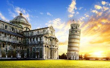 город, башня, италия, достопримечательность, пизанская башня, пиза