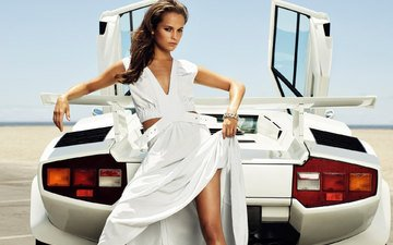 girl, look, hair, face, white dress, sports car, alicia vikander