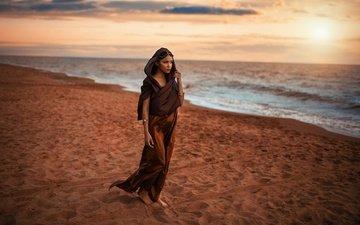 берег, девушка, песок, лицо, макияж, восточная, алессандро ди чикко