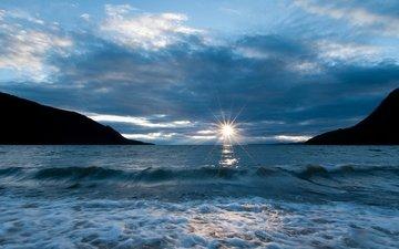 небо, облака, озеро, солнце, берег, волны, байкал