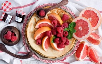 малина, джем, завтрак, блинчики, блины, грейпфрут