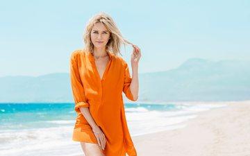 солнце, берег, волны, море, блондинка, песок, побережье, фотограф, актриса, наоми уоттс, ben watts