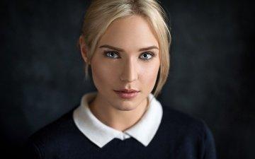 девушка, блондинка, портрет, взгляд, губы, лицо, lods franck, глаза голубые, ева микульски