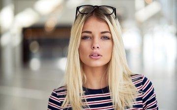 blonde, portrait, glasses, lips, simone borg jørgensen, simone borg