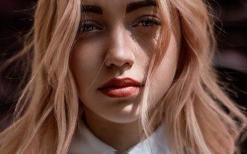 blonde, portrait, look, hair, lips, face, makeup