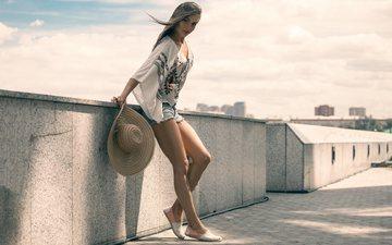 blonde, hat, shorts