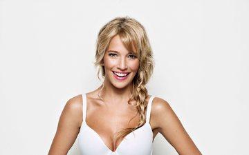 girl, blonde, smile, look, model, hair, face, actress, white background, singer, neckline, luisana lopilato