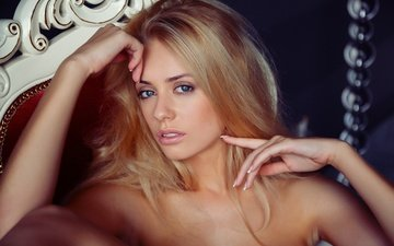 blonde, look, hair, face