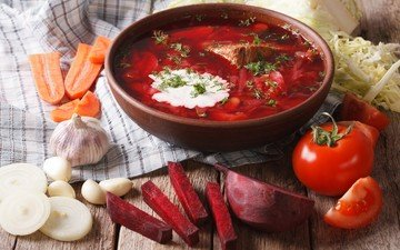лук, овощи, мясо, морковь, борщ, чеснок, суп, свекла