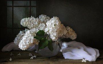 цветы, ткань, букет, ваза, белая, сирень