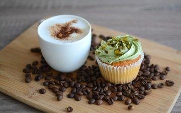 cup, coffee beans, cakes, cupcake, cappuccino, cream