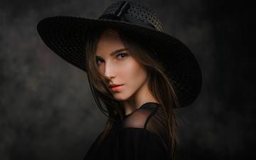 девушка, портрет, взгляд, губы, лицо, макияж, шляпа, черное платье, девушка модель, pavel cherepko