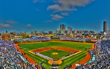 the sky, people, the city, usa, stadium, chicago, wrigley field