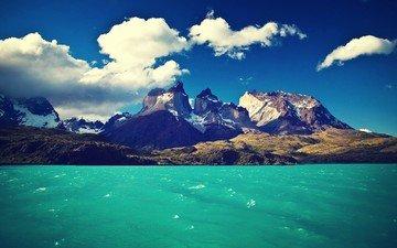 небо, облака, озеро, горы, чили, национальный парк, торрес-дель-пайне, торрес-дель-пайн,  торрес-дель-пайне