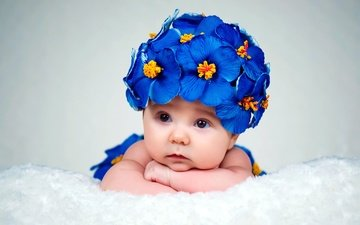 eyes, flowers, look, girl, child, baby