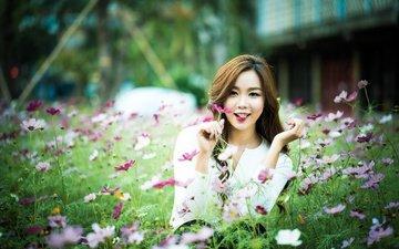 цветы, девушка, азиатка, боке