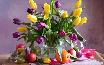 flowers, fruit, tulips, orange, apple, vase, tape, glass
