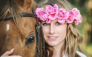 цветы, лошадь, девушка, настроение, улыбка, взгляд, лицо, конь, венок