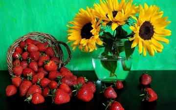 flowers, strawberry, bouquet, sunflowers, berries, vase, basket