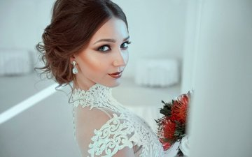 flowers, portrait, look, model, makeup, hairstyle, in white, brown hair
