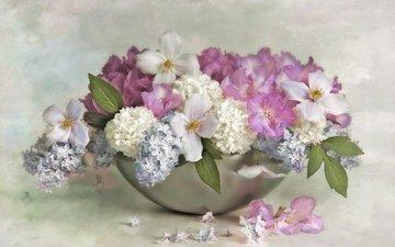 цветы, ваза, сирень, гортензия, клематис
