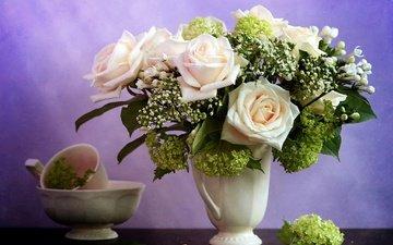 цветы, розы, чашка, ваза, сирень, миска, гортензия