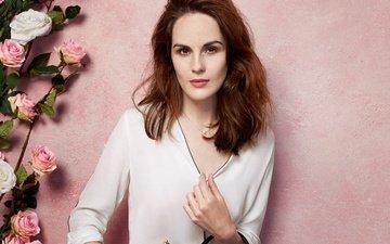 цветы, розы, стена, макияж, прическа, блузка, шатенка, сумка, david slijper