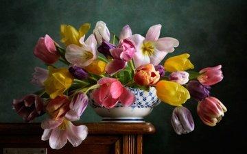 цветы, стол, тюльпаны, ваза