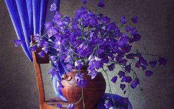 цветы, стул, ткань, ваза, колокольчики, занавеска