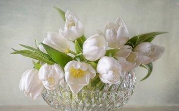 цветы, тюльпаны, ваза, хрусталь