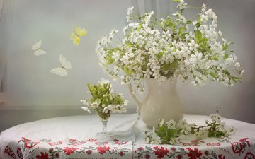 flowers, branches, embroidery, table, spring, cherry, butterfly, pitcher